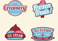 Free vector Pack of ice cream badges with pink details #13696