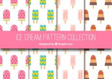 Free vector Pack of ice cream patterns in flat design #17863