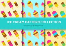 Free vector Pack of ice cream patterns of flat design #15387