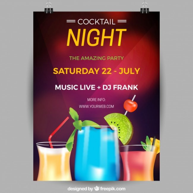 Free vector Party poster with cocktails #18475