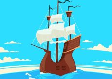 Free vector Pirate boat sailing background #13876
