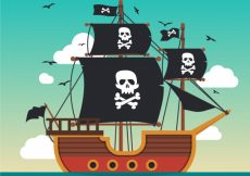 Free vector Pirate ship background in flat design #13864