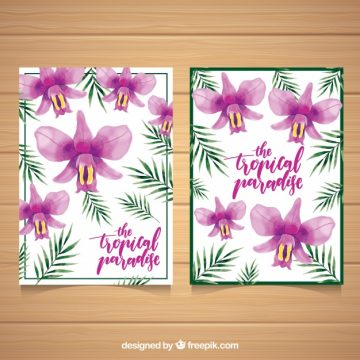 Free vector Pretty tropical watercolor flowers cards #18143
