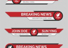 Free vector Red abstract lower thirds pack  #12443