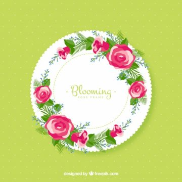 Free vector Round frame with floral decoration #13415