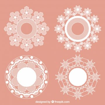 Free vector Round frames with lace flowers #18829
