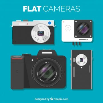 Free vector Set of cameras in flat design #18354