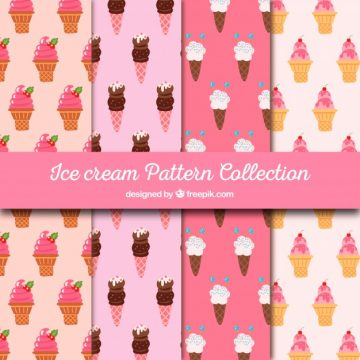 Free vector Set of delicious ice cream patterns #17877