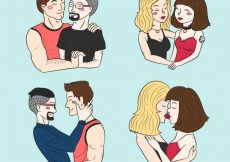 Free vector Set of hand drawn love couples  #16669