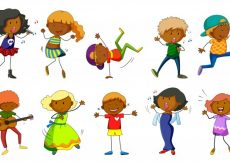 Free vector Set of kids singing and dancing illustration #13776