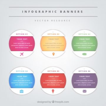 Free vector Set of six round infographic banners #15201