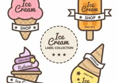 Free vector Several flat labels with colored ice creams #13698