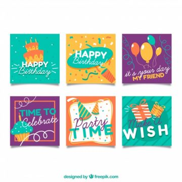 Free vector Small birthday cards collection #17885