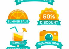 Free vector Summer discount stickers pack #14465