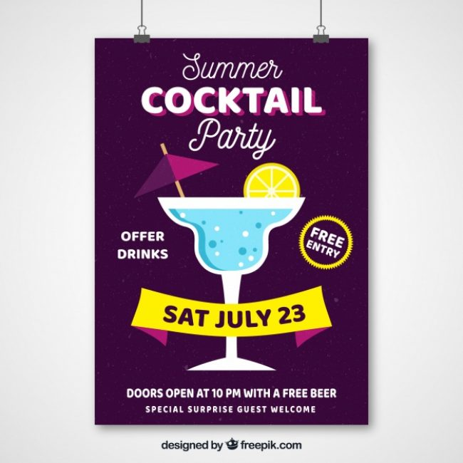 Free vector Summer party poster with cocktail #18481
