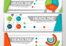 Free vector Three infographic banners with colored charts #14219