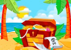 Free vector Treasure chest background on an island #15479