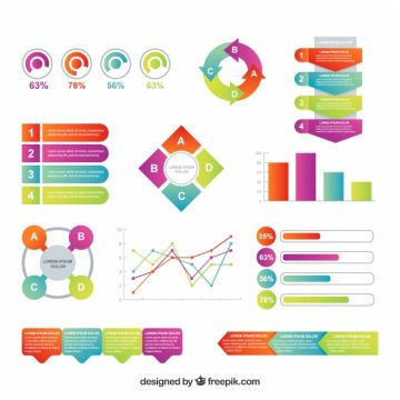 Free vector Variety of infographic elements in flat design #14989