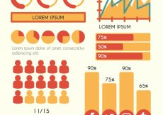 Free vector Variety of red and orange elements for infographics #12853