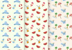 Free vector Variety of summer patterns with flat items #13407