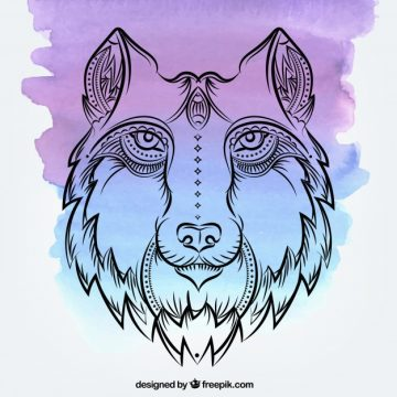 Free vector Watercolor background with hand drawn wolf  #17691