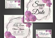 Free vector Wedding card watercolor flowers design #14949
