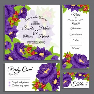 Free vector Wedding stationery collectio #16326