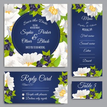 Free vector Wedding stationery with floral desig #16340