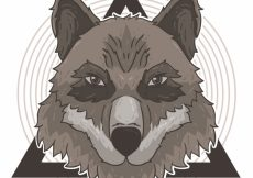 Free vector Wild wolf background with geometric shapes #16237