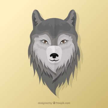 Free vector Wolf head background in flat design #16219