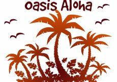 Free vector Aloha background with silhouettes of palm trees #19685