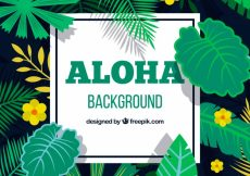 Free vector Aloha background with yellow flowers and leaves #19681