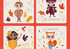 Free vector Autmn cards with dressed up children #20601