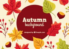 Free vector Autumnal background with leaves and chestnuts #22571