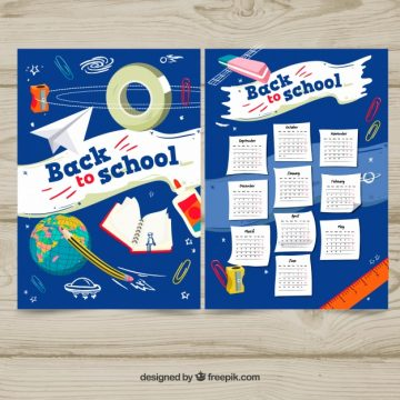 Free vector Back to school space calendar #22937