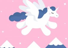 Free vector Background of mountains with unicorn flying  #21079