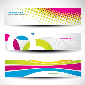Free vector Banner set with abstract colorful shapes #21314