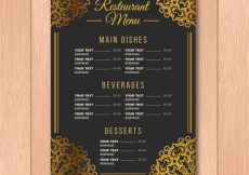 Free vector Baroque menu template with golden ornaments #19469