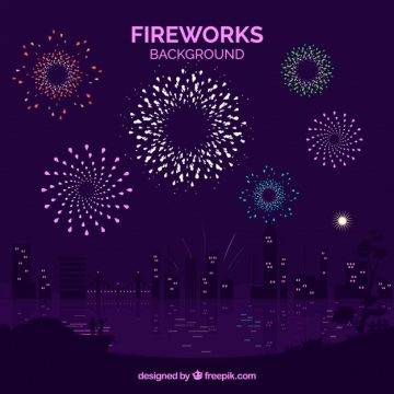 Free vector Beautiful city background with fireworks #20375