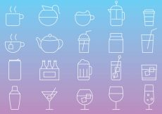 Free vector Beverages Line Icons #21889