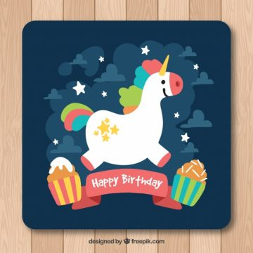 Free vector Birthday card with pretty unicorn and cupcakes #20150