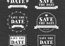 Free vector Blackboard wedding labels with modern style #22445