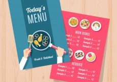 Free vector Blue and red restaurant menu #19419