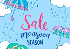 Free vector Blue background of monsoon umbrella and rain drops #20265