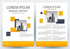 Free vector Business brochure template with Orange Geometric shapes #20569