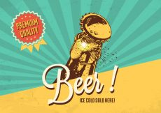 Free vector Cold Beer Vector Retro Poster #22902