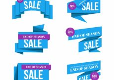 Free vector Collection of blue sales banner #19373