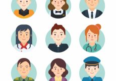 Free vector Cute avatars with traditional jobs #22095