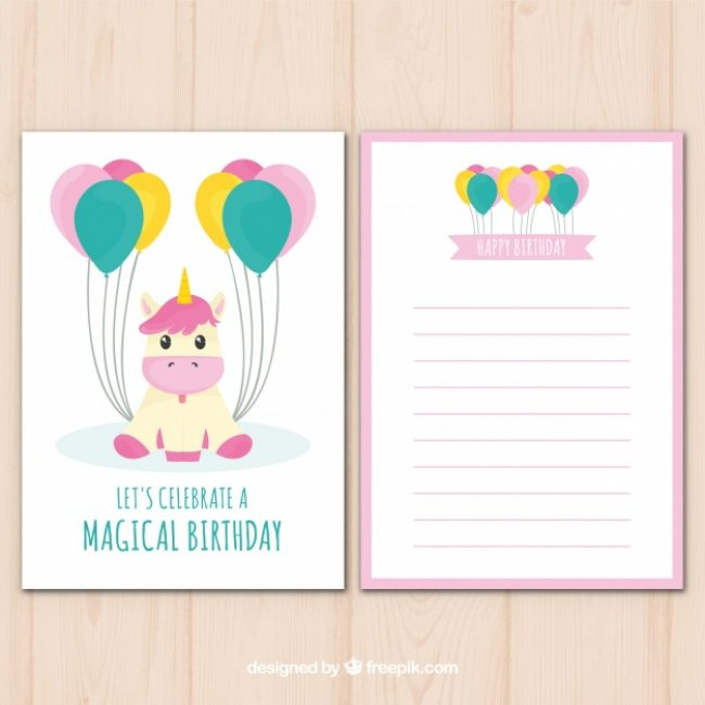 Free vector Cute birthday card with unicorn and balloons #19671