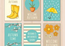 Free vector Cute collection of hand drawn autumnal cards #20599
